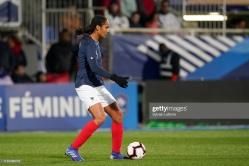 AUXERRE, FRANCE - APRIL 04: France's Wendie Renard during women friendly soccer match France vs Japan at Stade de L'Abbe-Deschamps on April 04, 2019 in Auxerre, France. (Photo by Sylvain Lefevre/Getty Images)